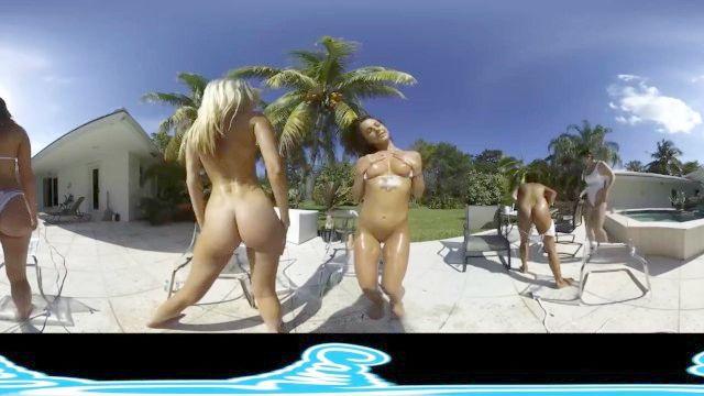 лесби виртуальный реалити-шоу, брызгали на открытом воздухе у бассейна
