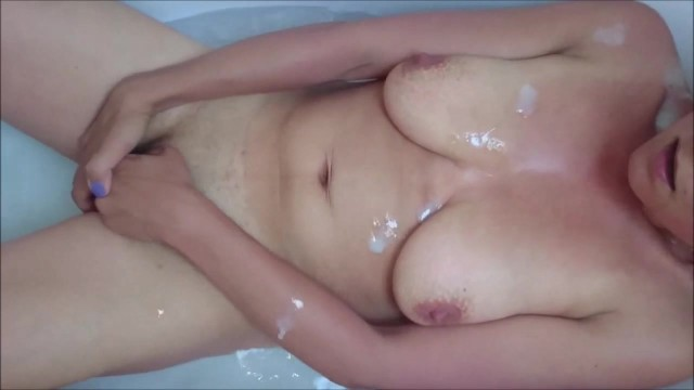 Masturbating Together - He Cums All Over Her As She Masturbates In The Tub