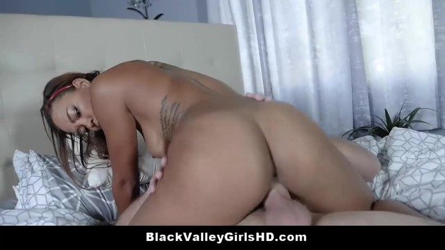 Beautiful Ebony Teen Harley Dean Tries A Big White Cock