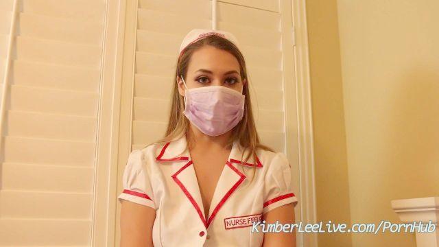 Enfermera Kimber Lee Da Paja En Sus Guantes De Látex De Color Púrpura!
