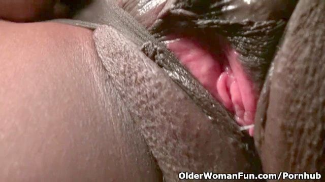 Office Grannie Amanda Erotic Dances Off And Plays With Her Old Quim