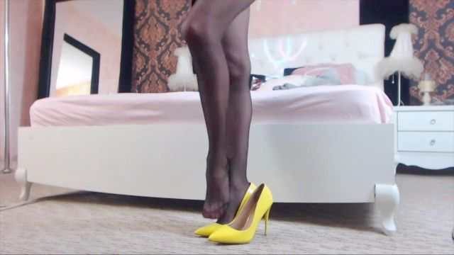 Pretty Long Legs In Tights High Heels Tease
