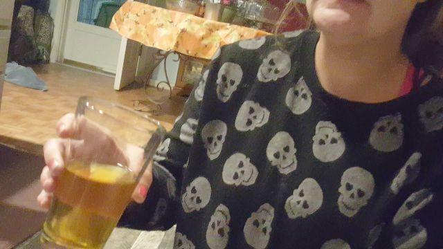 White Trash Hussy Drinks Glass Of Yellow Pee - Gagging Choking Hate Devour