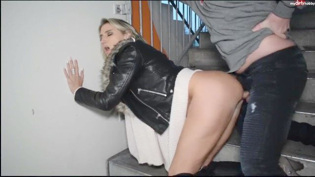 Light Haired German In A Ebony Fur Trimmed Leather Jacket Sex